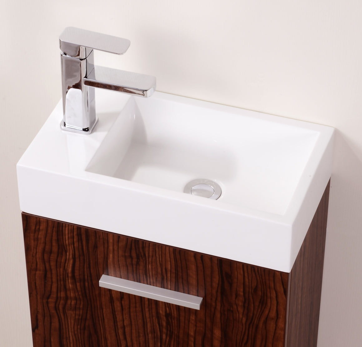 "Bliss 18"" Walnut Wall Mount Modern Bathroom Vanity"