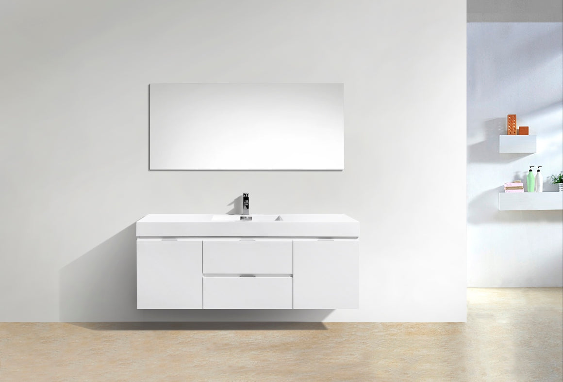"Bliss 60"" Single Sink High Gloss White Wall Mount Modern Bathroom Vanity"