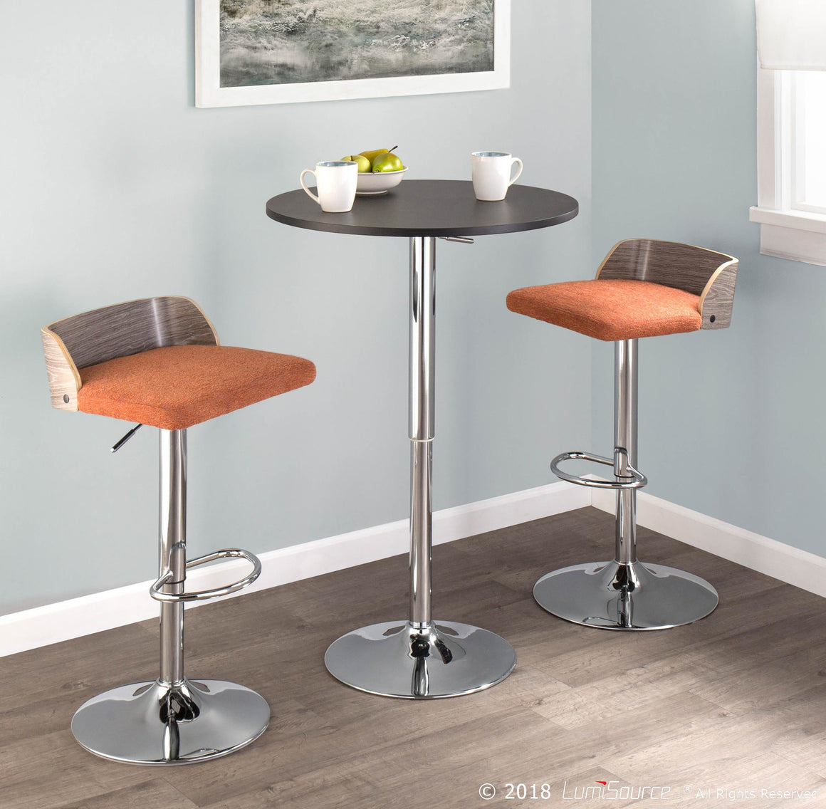 Adjustable Contemporary Bar Table in Black by LumiSource