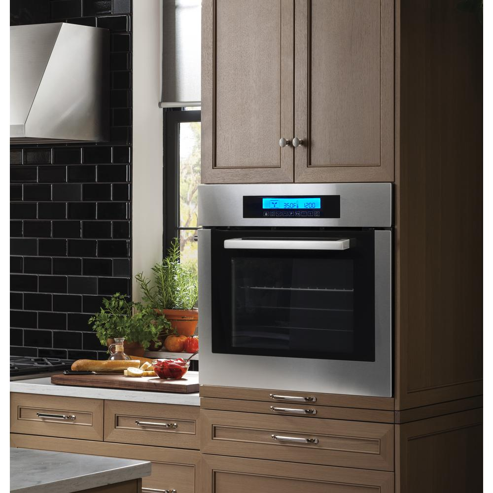 "Cosmo 24"" Stainless Steel Single Electric Self Cleaning Wall Oven - Convection"