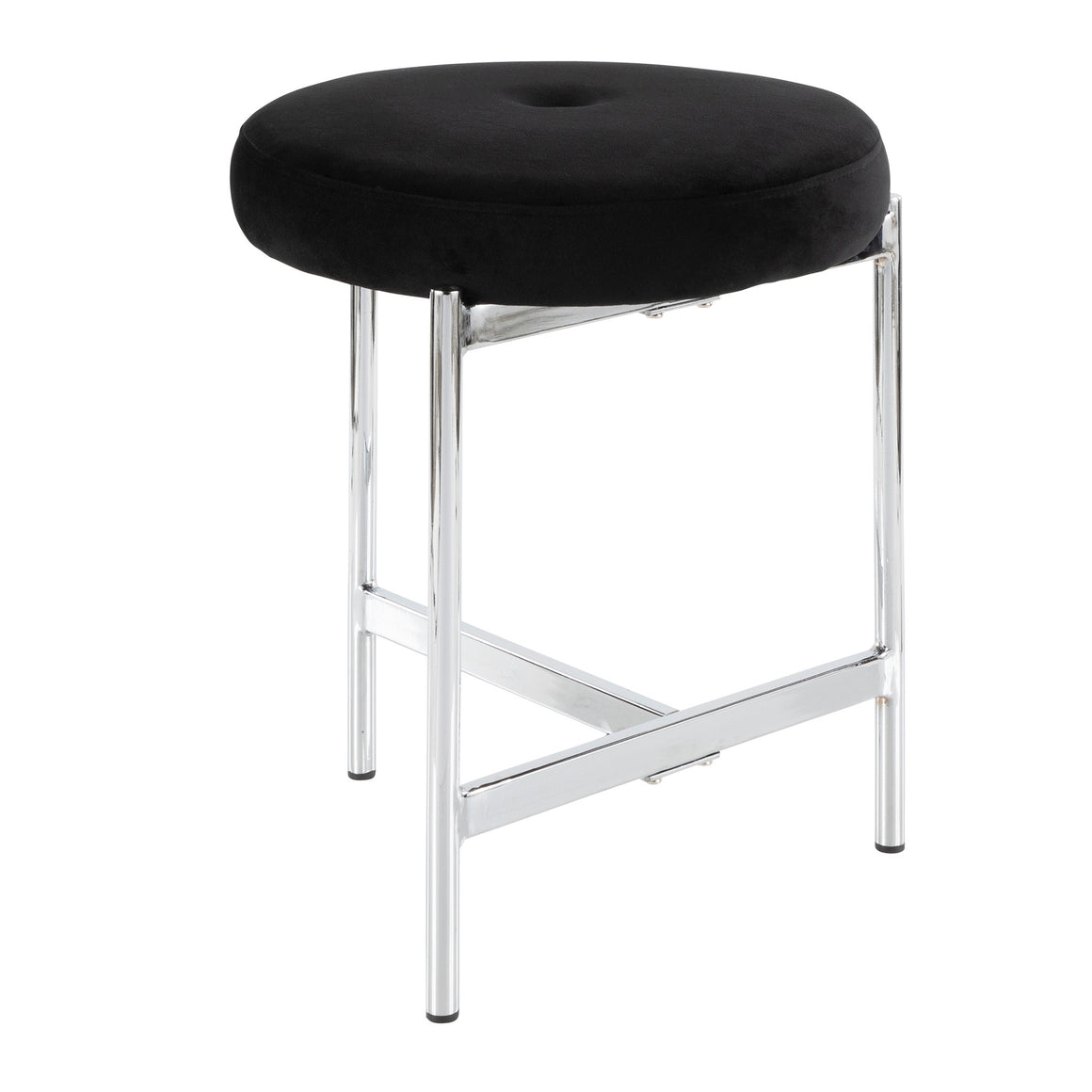 Chloe Contemporary Vanity Stool in Chrome and Black Velvet by LumiSource