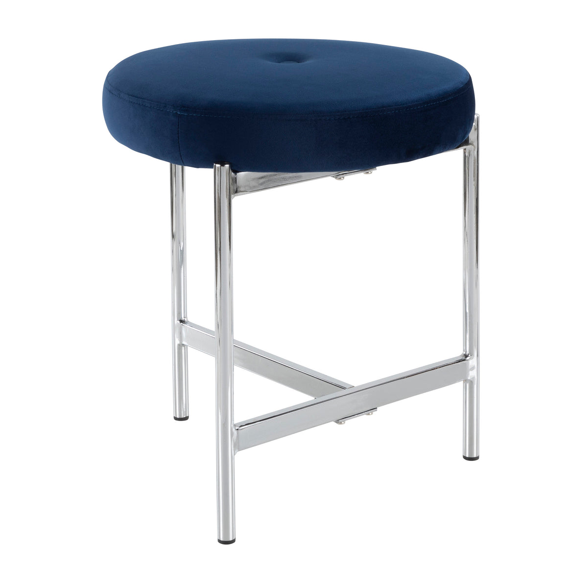 Chloe Contemporary Vanity Stool in Chrome and Blue Velvet by LumiSource