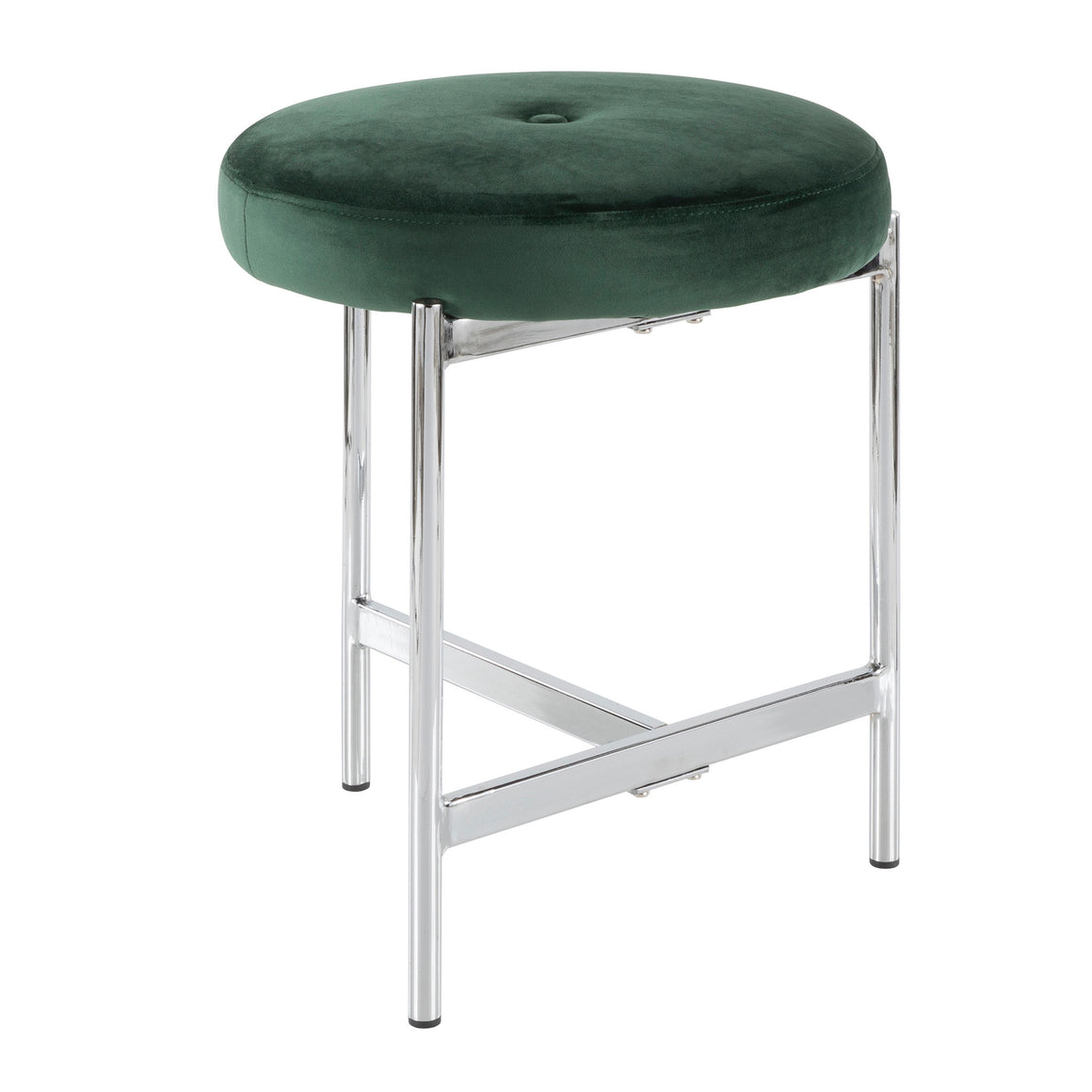 Chloe Contemporary Vanity Stool in Chrome and Green Velvet by LumiSource