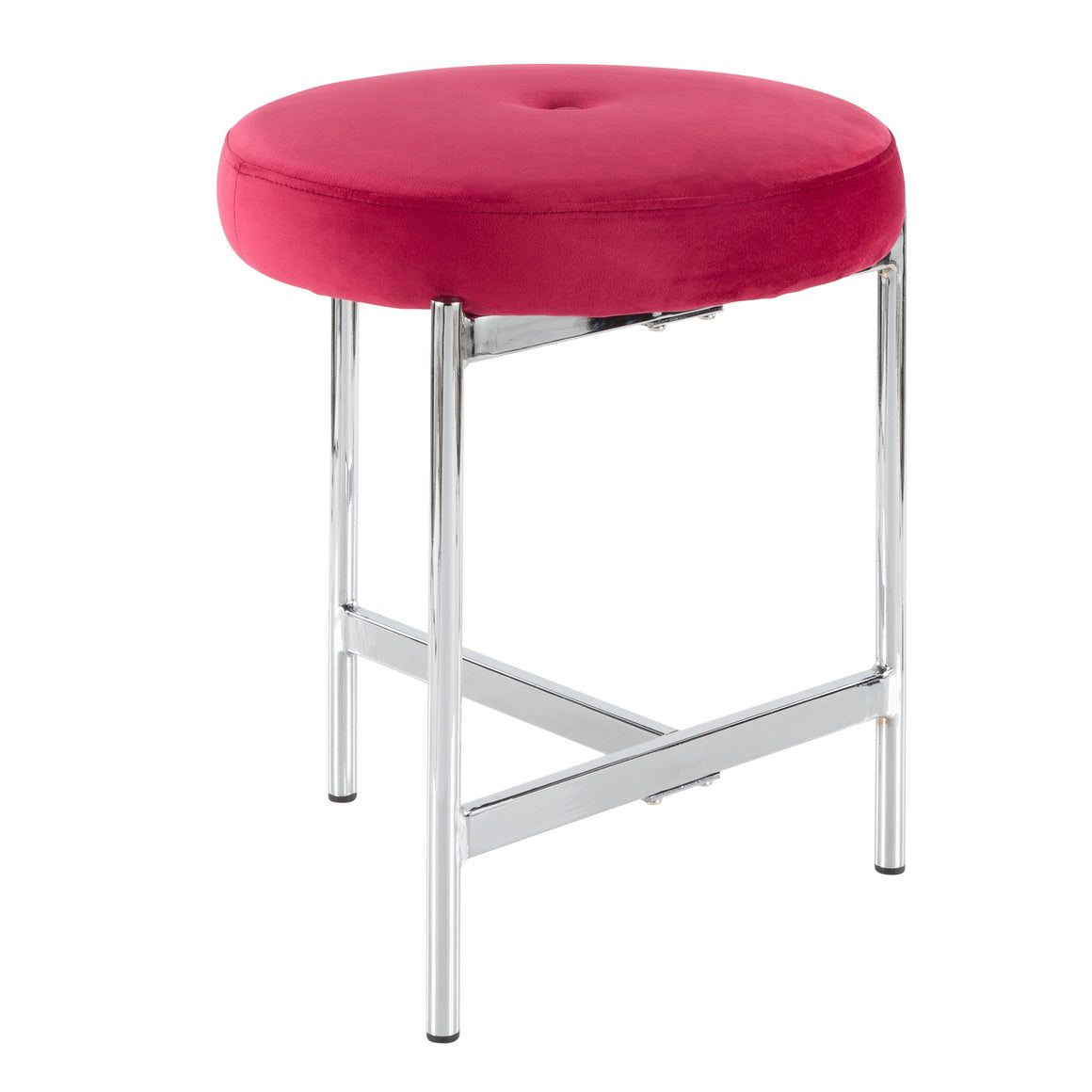 Chloe Contemporary Vanity Stool in Chrome and Pink Velvet by LumiSource