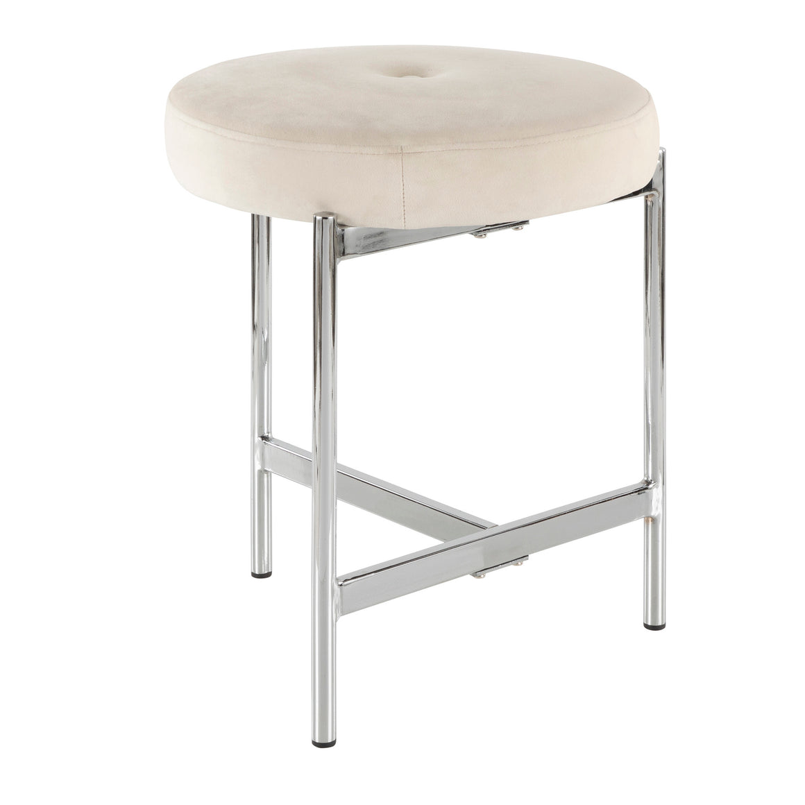 Chloe Contemporary Vanity Stool in Chrome and White Velvet by LumiSource