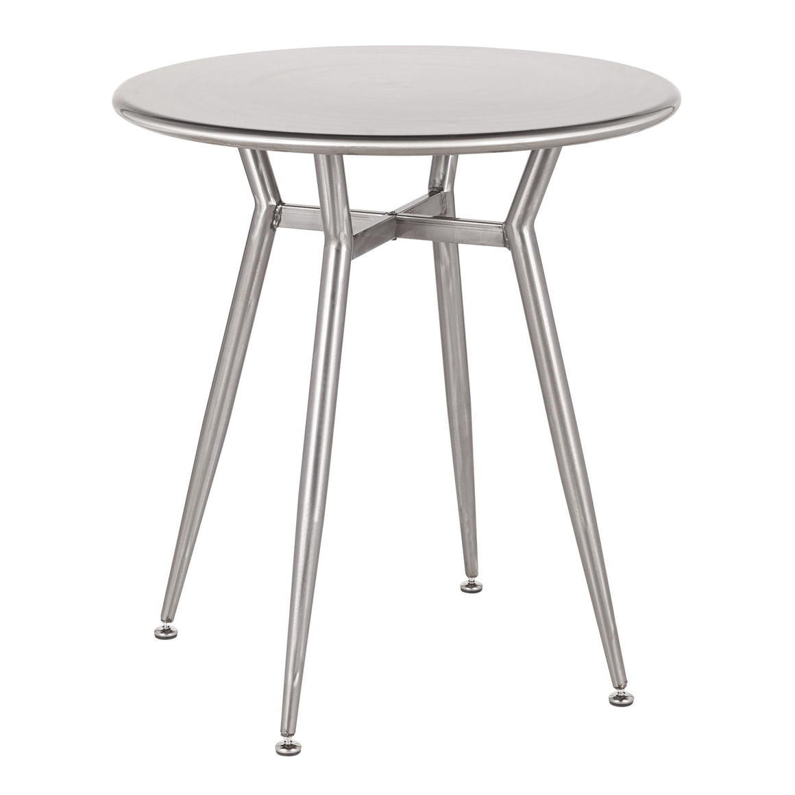 Clara Industrial Round Dinette Table in Clear Brushed Silver Metal by LumiSource