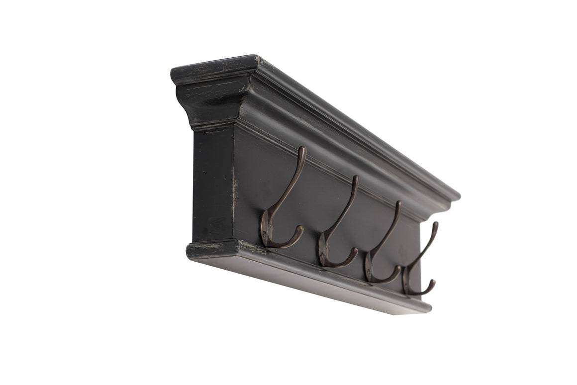 Halifax 4-Hook Coat Rack in Black White Antique