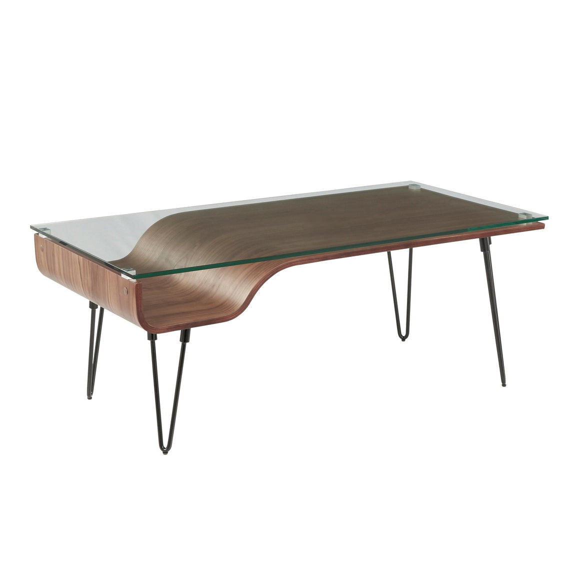 Avery Mid-Century Modern Coffee Table in Walnut Wood, Clear Glass, and Black Metal by Lumisource