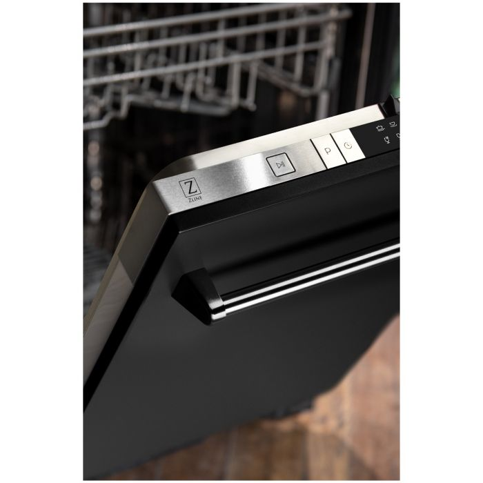 24 IN. TOP CONTROL DISHWASHER IN BLACK MATTE WITH STAINLESS STEEL TUB AND TRADITIONAL STYLE HANDLE