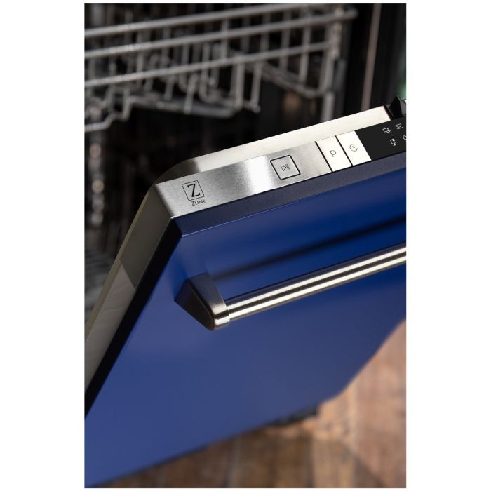 24 IN. TOP CONTROL DISHWASHER IN BLUE MATTE WITH STAINLESS STEEL TUB AND TRADITIONAL STYLE HANDLE