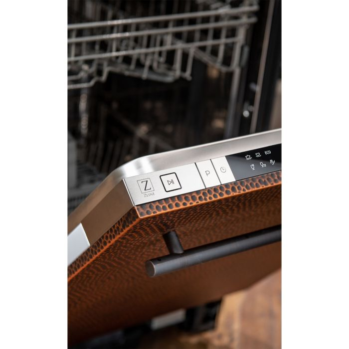 18 in. Top Control Dishwasher in Hand-Hammered Copper with Stainless Steel Tub and Modern Style Handle
