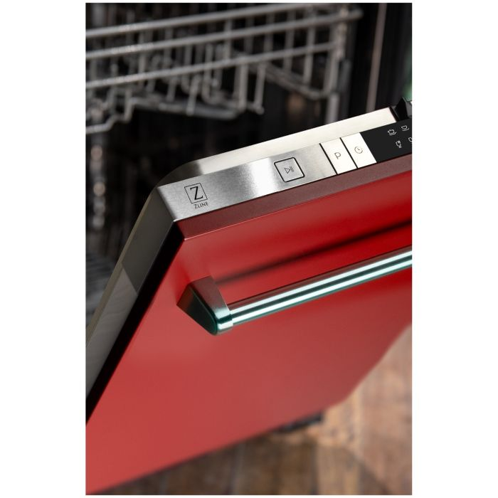 24 IN. TOP CONTROL DISHWASHER IN RED MATTE WITH STAINLESS STEEL TUB AND TRADITIONAL STYLE HANDLE