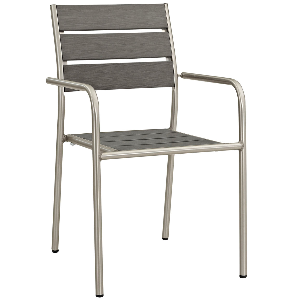 SHORE OUTDOOR PATIO ALUMINUM DINING ROUNDED ARMCHAIR IN SILVER GRAY