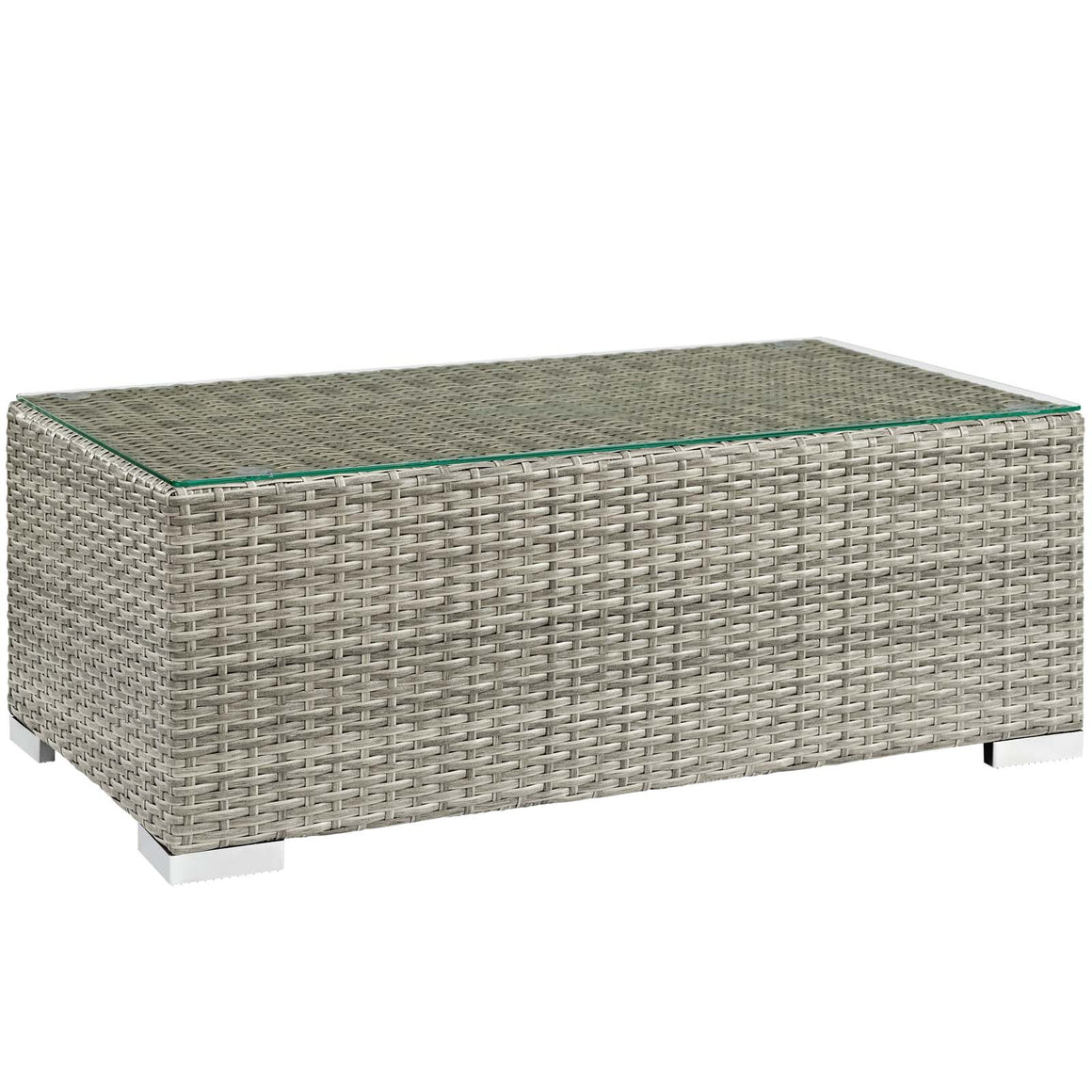 REPOSE OUTDOOR PATIO COFFEE TABLE IN LIGHT GRAY
