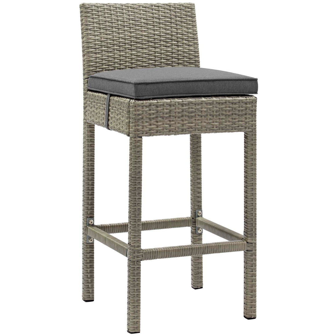 CONDUIT OUTDOOR PATIO WICKER RATTAN BAR STOOL IN LIGHT GRAY