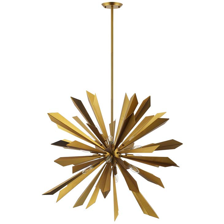 PERVADE STARBURST BRASS PENDANT LIGHT CHANDELIER