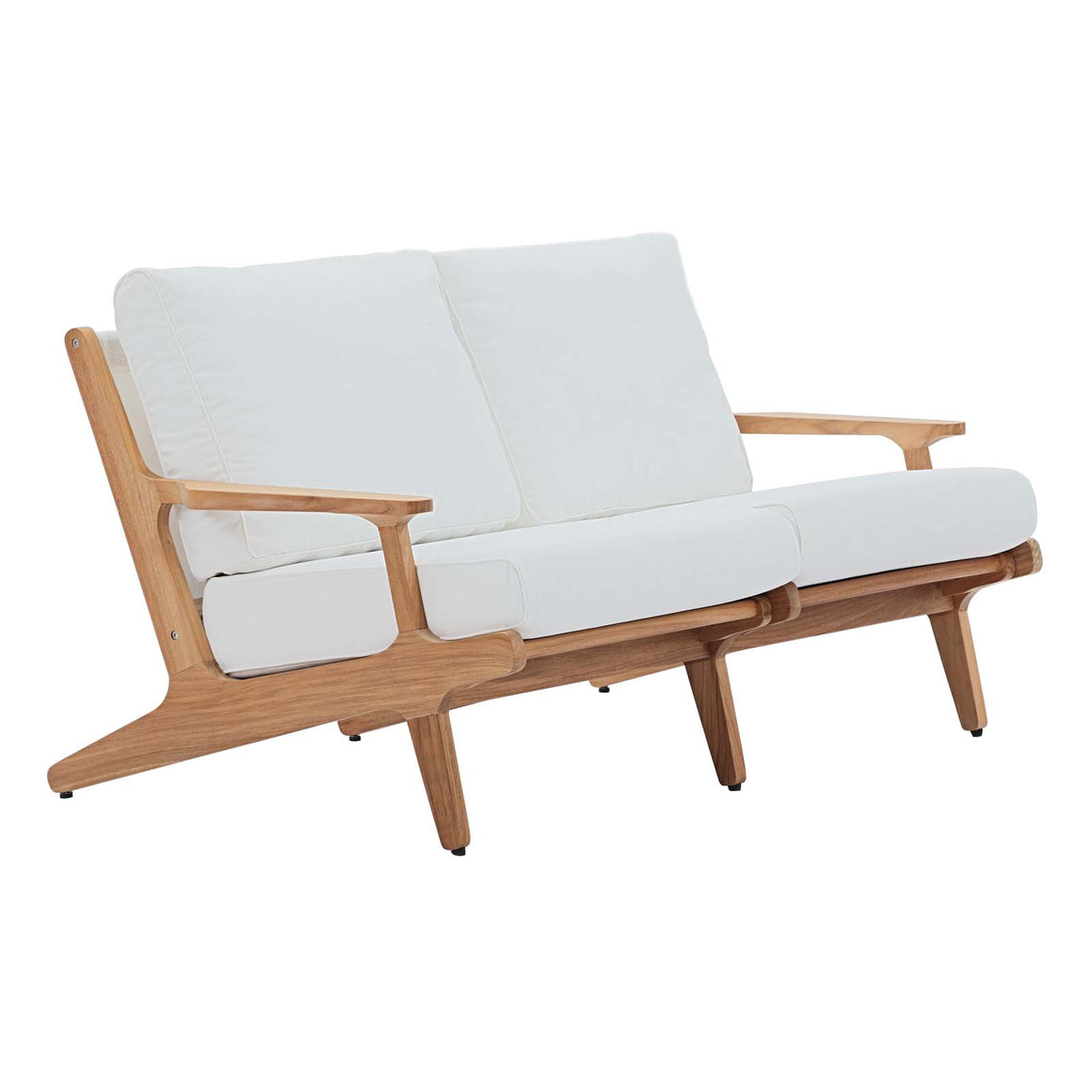 SARATOGA OUTDOOR PATIO TEAK LOVESEAT IN NATURAL WHITE