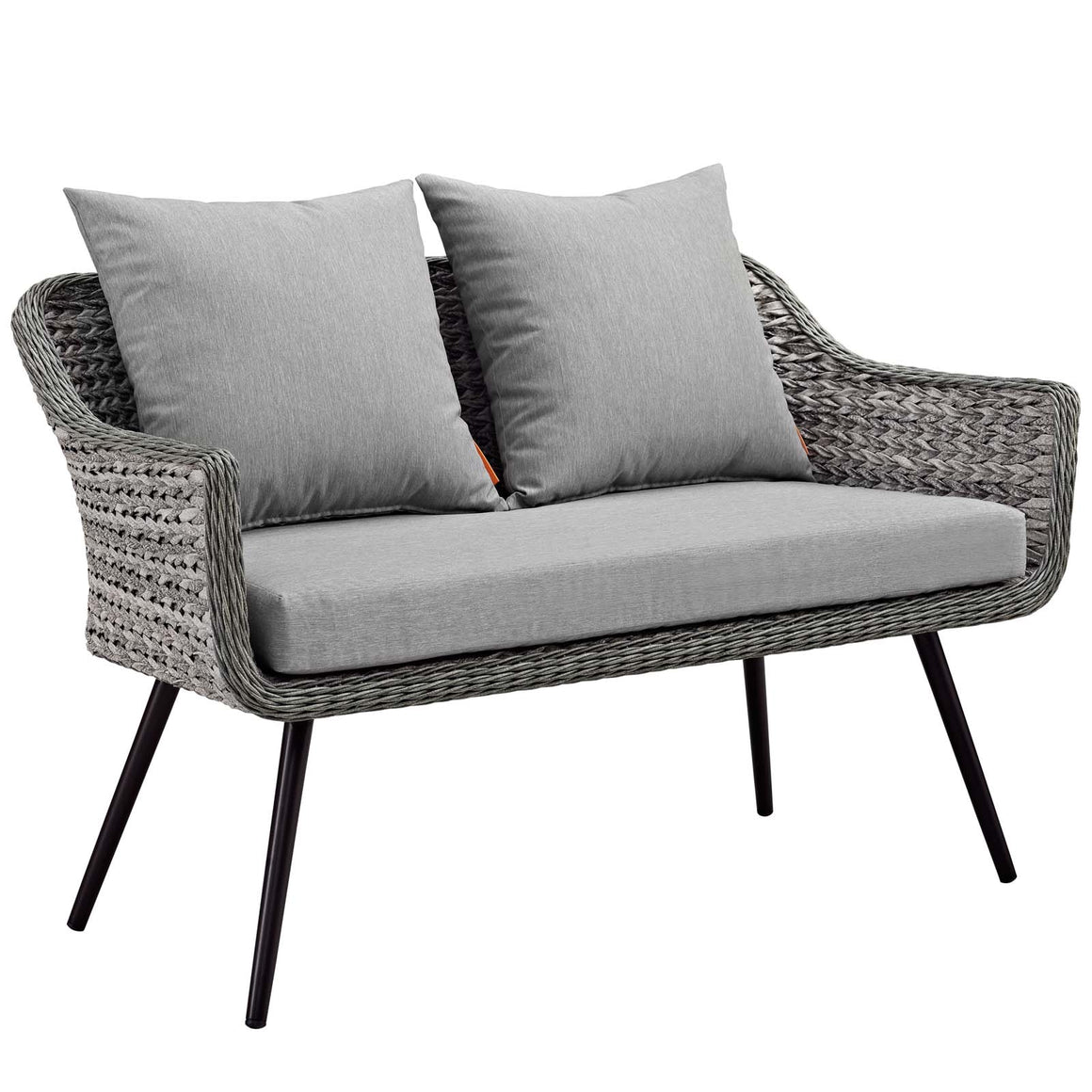 ENDEAVOR OUTDOOR PATIO WICKER RATTAN LOVESEAT IN GRAY GRAY