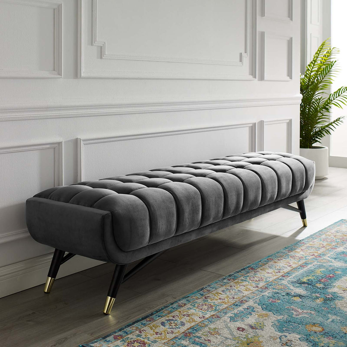 ADEPT UPHOLSTERED VELVET BENCH