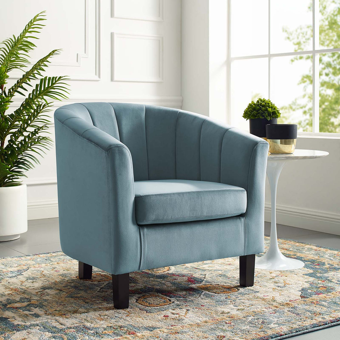 PROSPECT CHANNEL TUFTED UPHOLSTERED VELVET ARMCHAIR