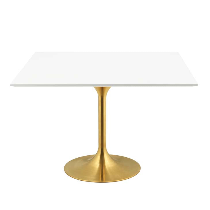 "LIPPA 47"" SQUARE DINING TABLE IN GOLD WHITE"