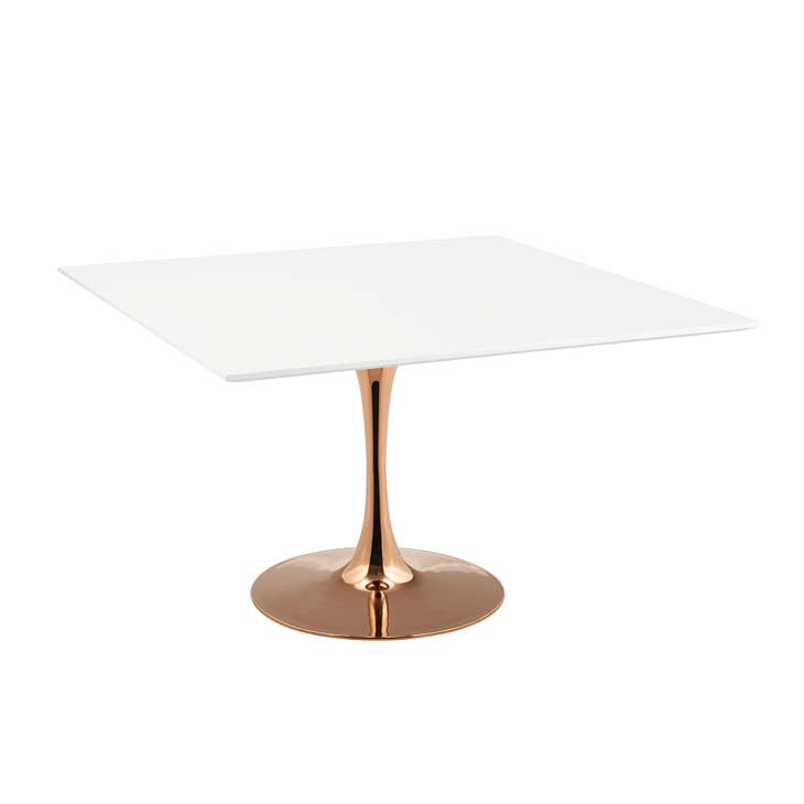 "LIPPA 47"" SQUARE DINING TABLE IN ROSE WHITE"