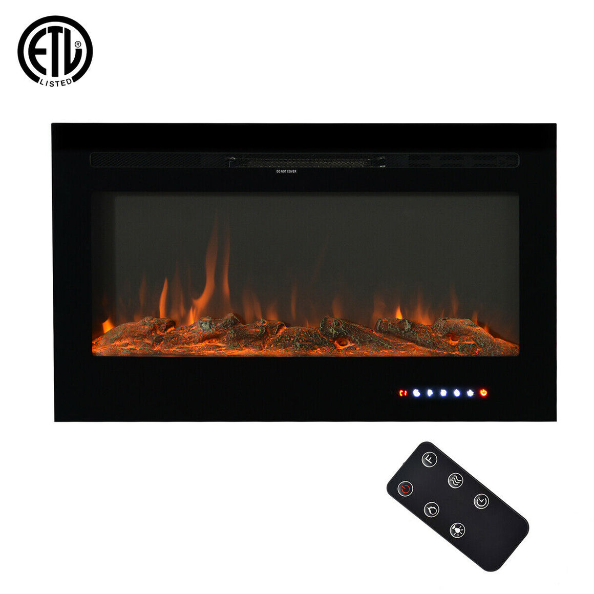 "U-style Wall-Mounted Recessed Electronic 36"" Fireplace w/ 9 Color Flame Crystal and Log"