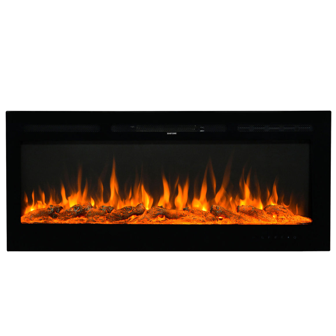 "U-style Wall-Mounted Recessed Electronic 50"" Fireplace w/ 9 Color Flame Crystal and Log"