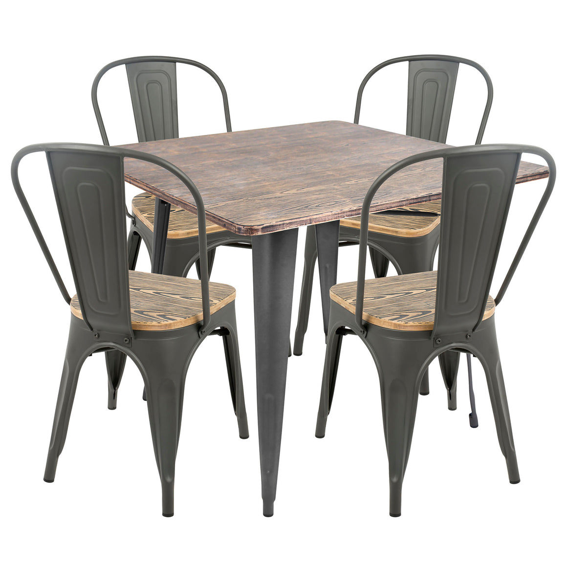 Oregon 5-Piece Industrial-Farmhouse Dining Set in Grey and Brown by LumiSource