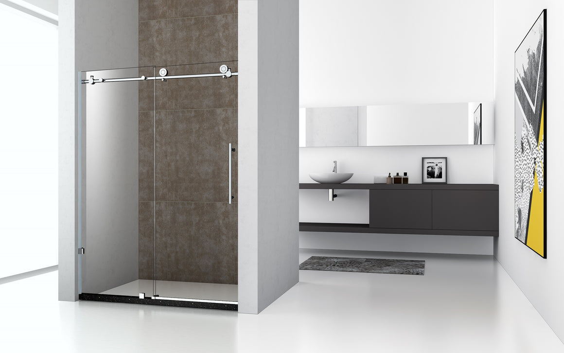 Legion 60 x 75 in. Frameless Sliding Shower Door with Chrome Hardware
