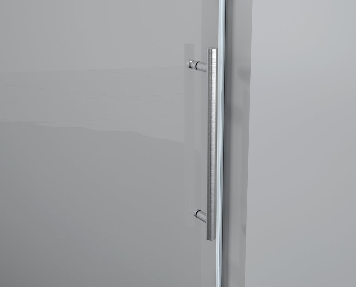 Legion 60 x 65 in. Frameless Sliding Shower Door with Brushed Nickel Hardware