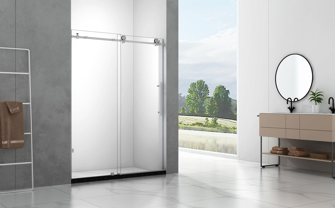 65 x 75 in. Frameless Sliding Shower Door with Brushed Nickel Hardware