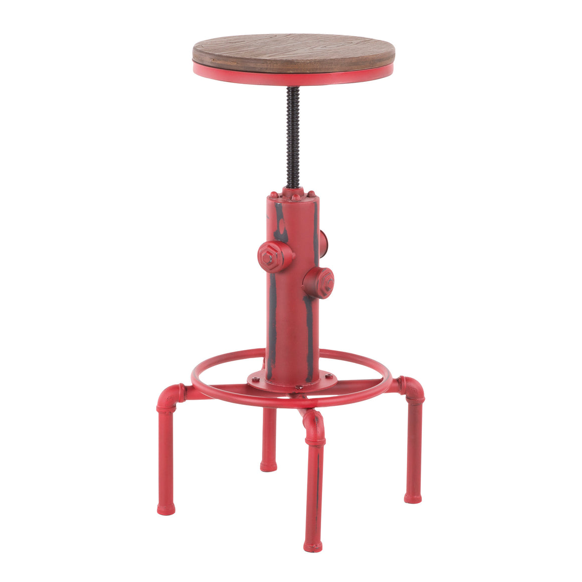 Hydra Industrial Barstool in Vintage Red Metal and Brown Wood-Pressed Grain Bamboo by LumiSource