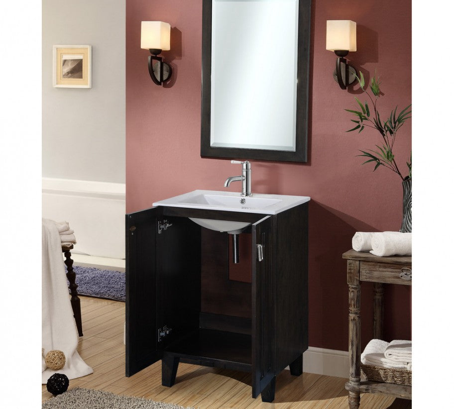 "24"" Country Style Bath Vanity with Ceramic Top and Integrated Sink in Dark Brown Finish"