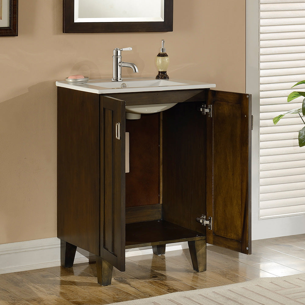 "24"" Country Style Bath Vanity with Ceramic Top and Integrated Sink in Brown Finish"