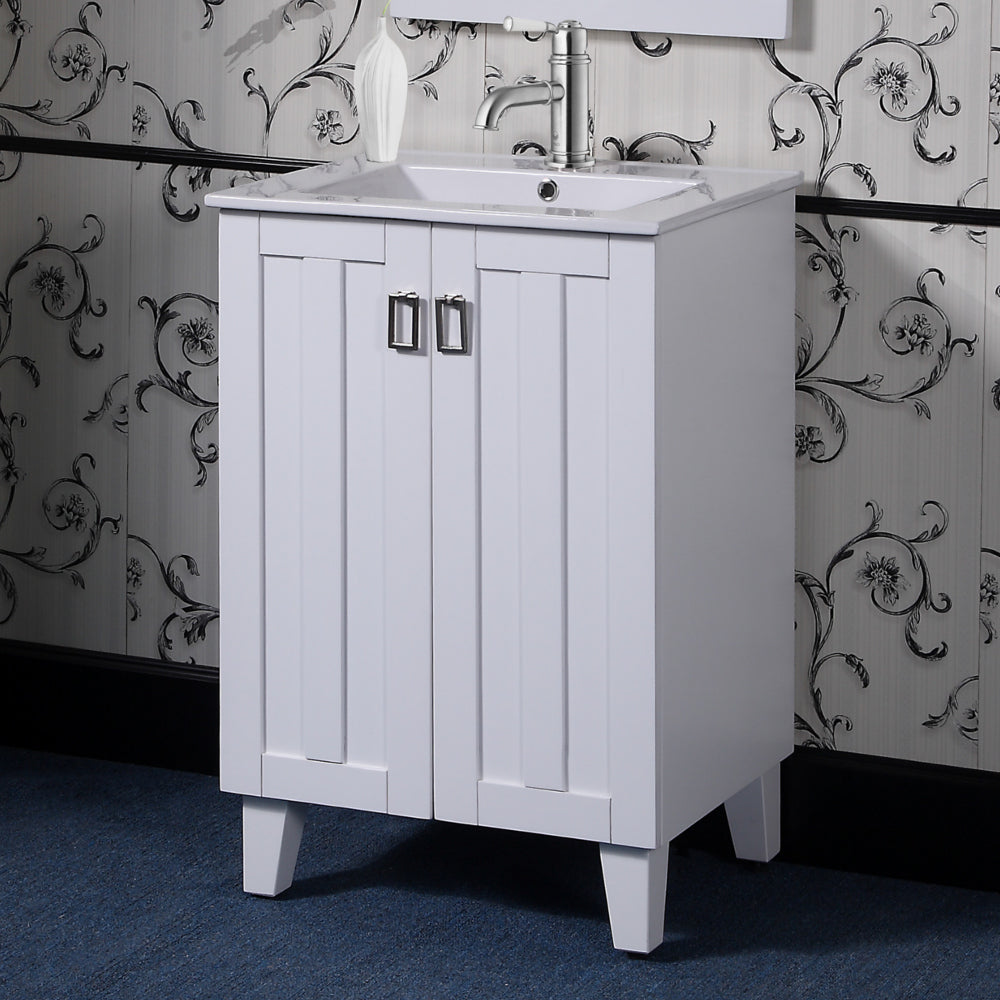 "24"" Country Style Bath Vanity with Ceramic Top and Integrated Sink in White Finish"