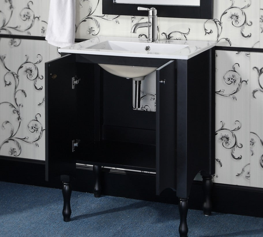 "24"" Contemporary Bath Vanity with Ceramic Top and Integrated Sink in Black Finish"