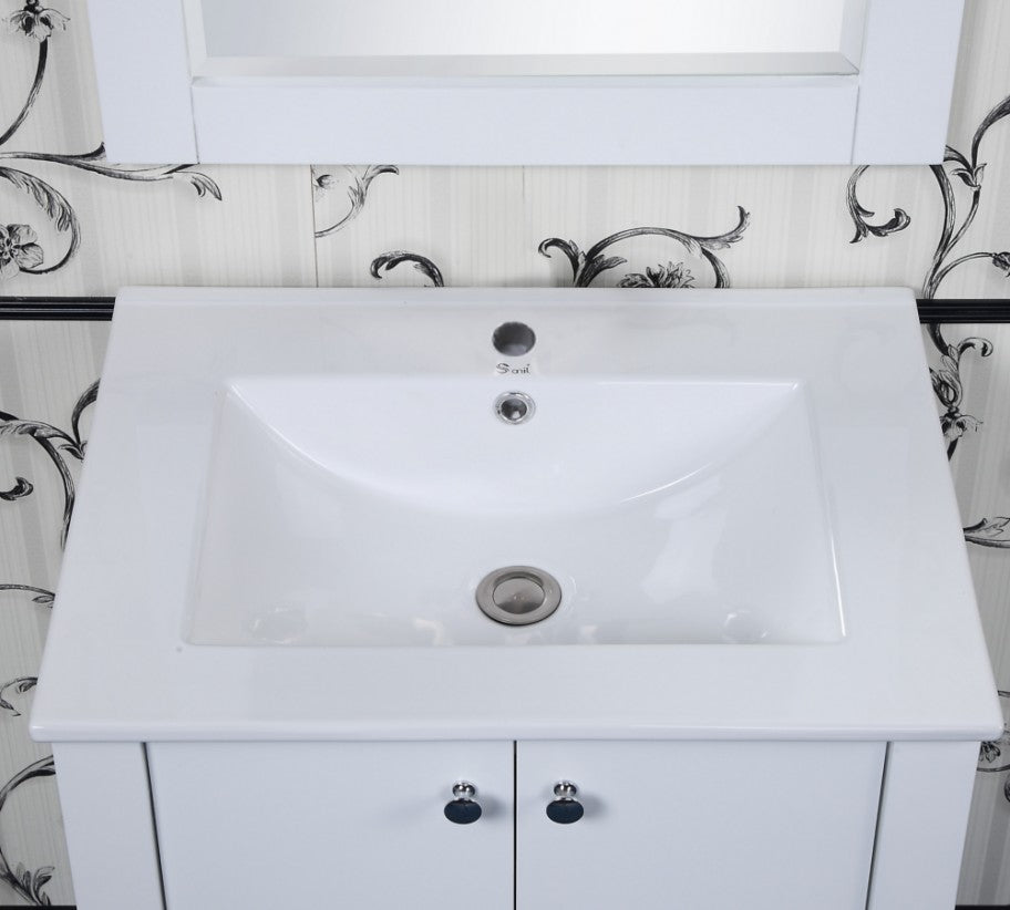 "24"" Contemporary Bath Vanity with Ceramic Top and Integrated Sink in White Finish"