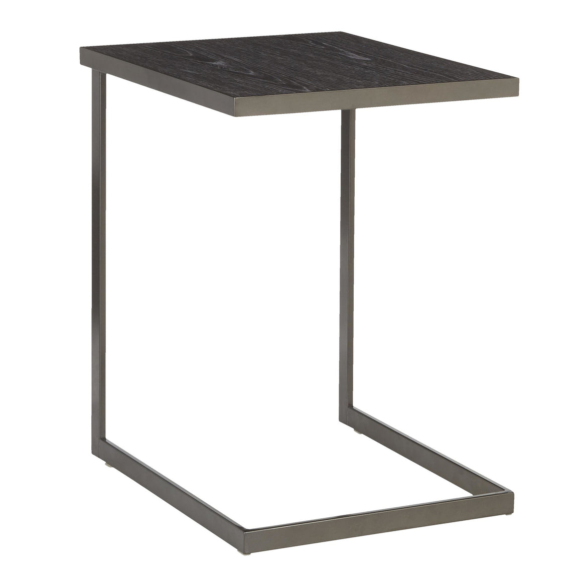 Industrial Zenn End Table in Antique Metal and Dark Grey Wood by LumiSource