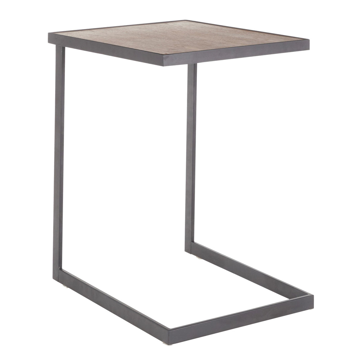Industrial Zenn End Table in Black Metal and Walnut Wood by LumiSource