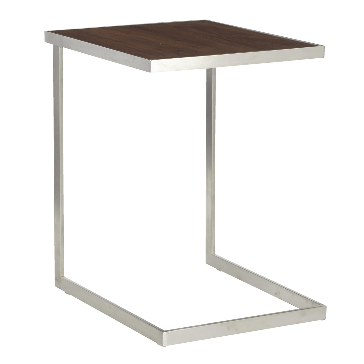 Industrial Zenn End Table in Stainless Steel and Walnut Wood by LumiSource