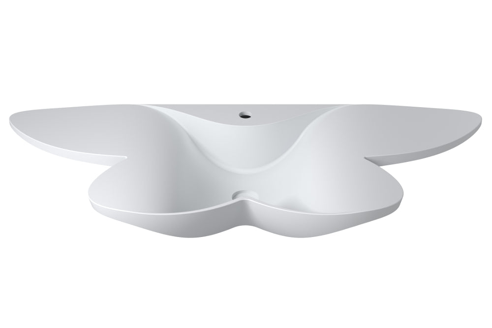 "53""POLYSTONE BUTTERFLY STYLE WALL MOUNTED SINK IN MATTE WHITE FINISH"