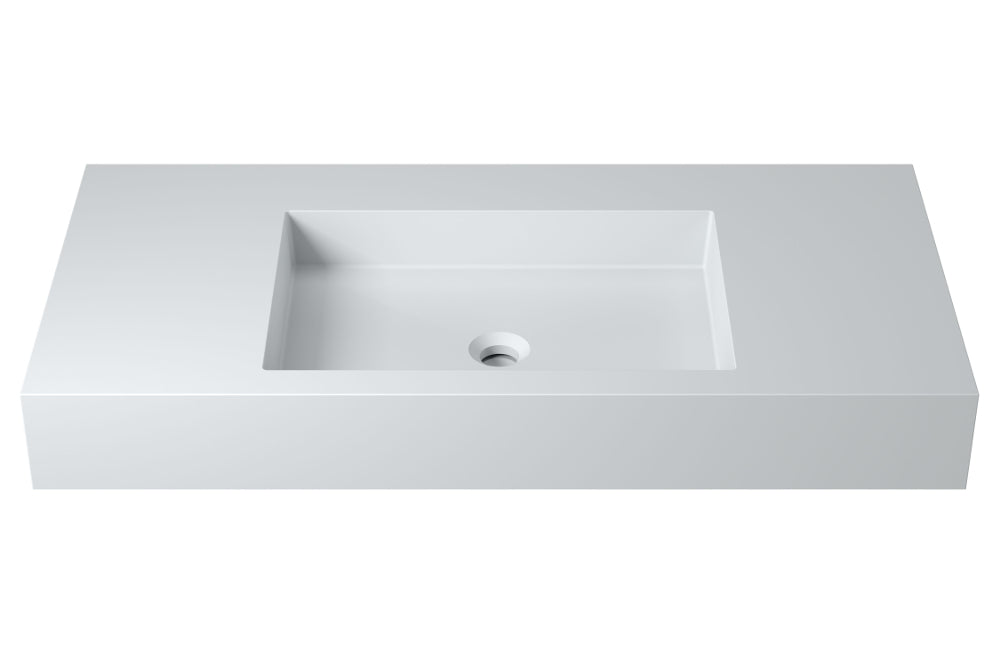 "39""POLYSTONE RECTANGULAR WALL MOUNTED SINK IN MATTE WHITE FINISH-NO FAUCET"