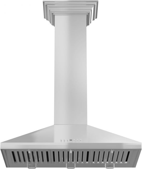 ZLINE 30 in. 760 CFM Wall Mount Range Hood in Stainless Steel with Crown Molding (KL2CRN-30)