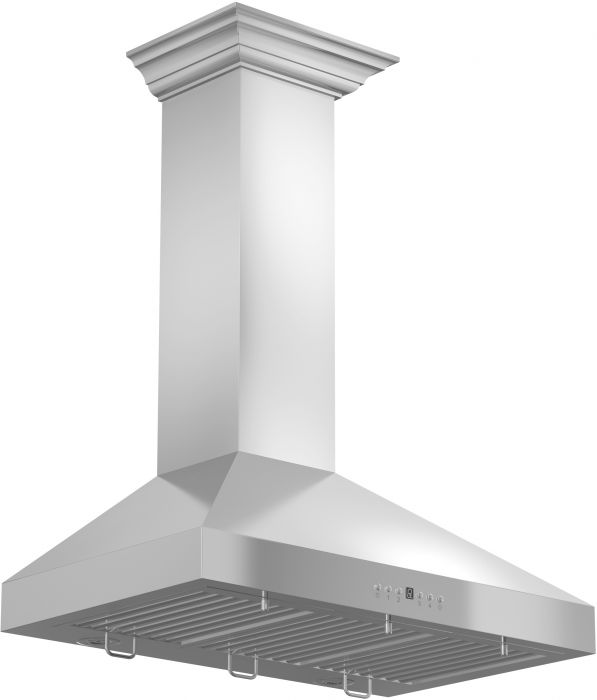 ZLINE 30 in. 760 CFM Wall Mount Range Hood in Stainless Steel with Crown Molding (KL3CRN-30)
