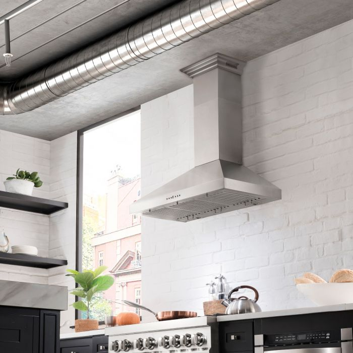 ZLINE 30 IN. WALL MOUNT RANGE HOOD IN STAINLESS STEEL WITH BUILT-IN CROWNSOUND® BLUETOOTH SPEAKERS (KL3CRN-BT-30)