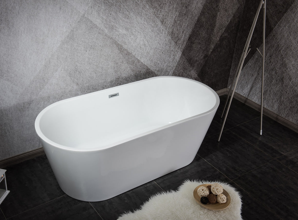 Melina 59 inch Freestanding Bathtub with Chrome Drain
