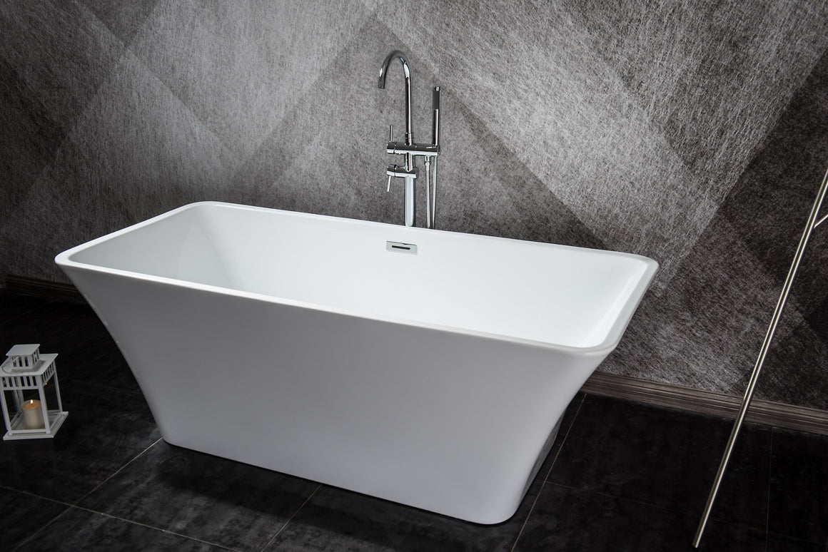 Vinter 59 inch Freestanding Bathtub with Chrome Drain