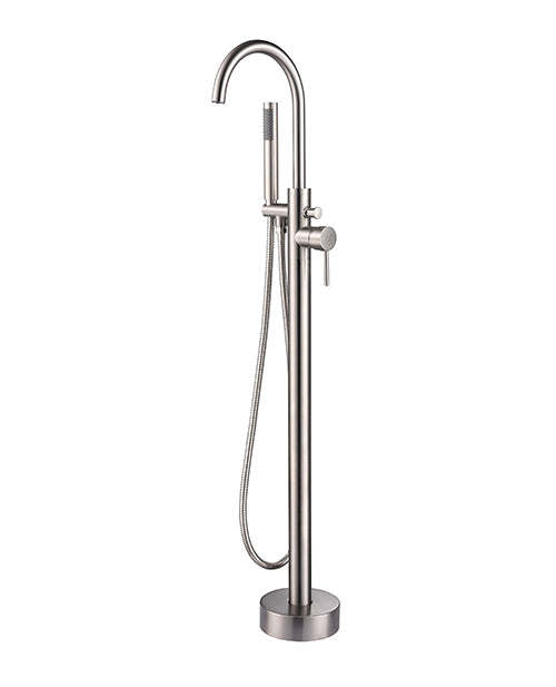 Single Freestanding Bathtub Faucet with Hand Shower in Brushed Nickel