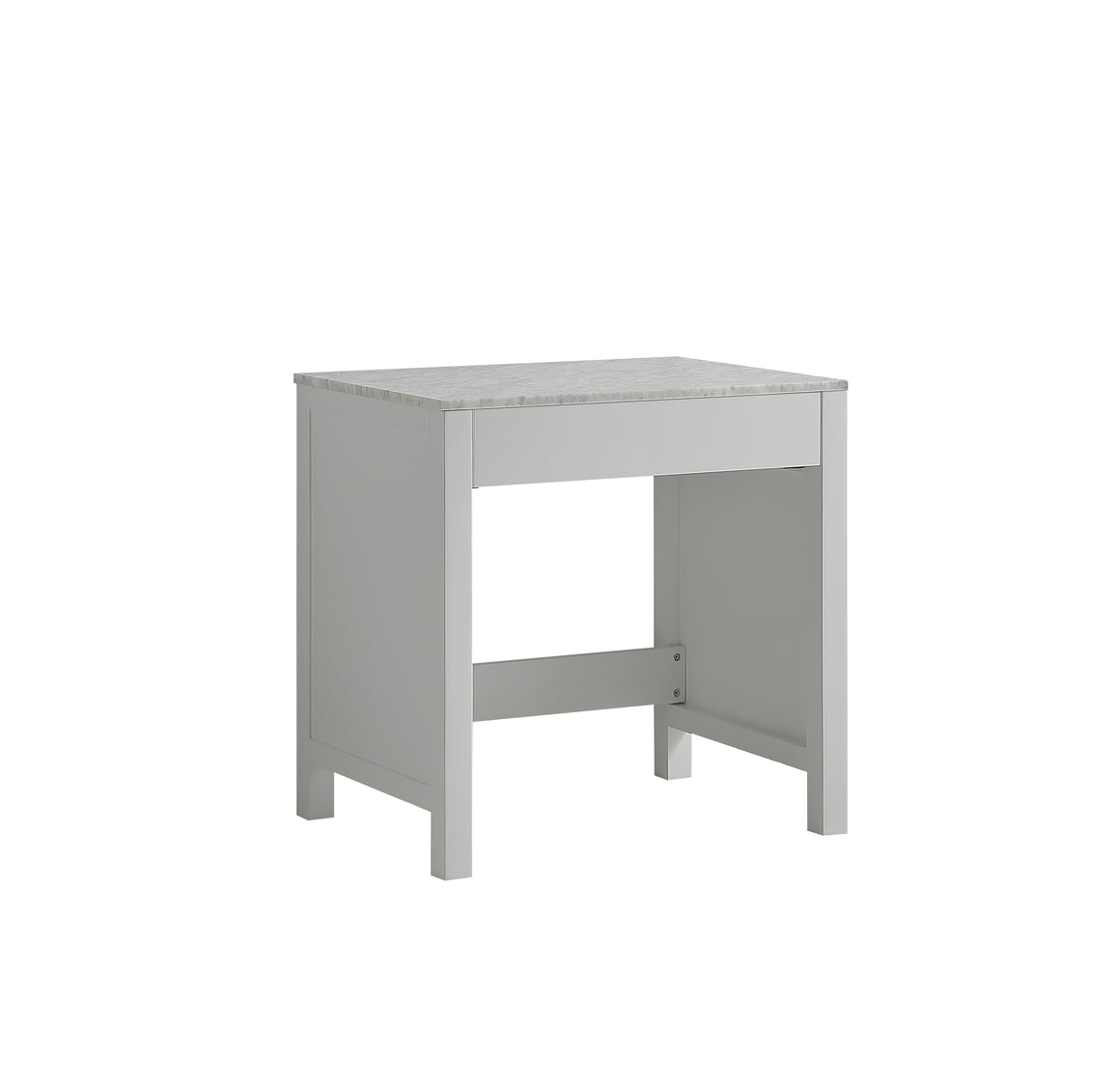 "Jacques 30"" Single Make-Up Table in White, White Carrera Marble Top"
